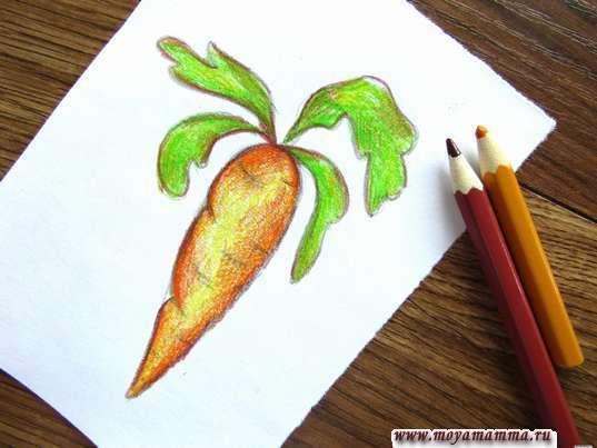Морковь карандашами. Использование дополнительных цветов