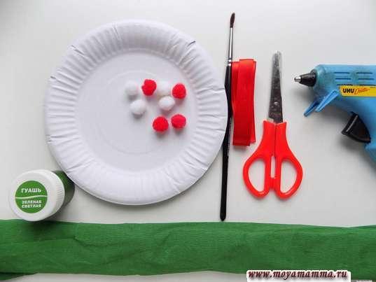 Бумажная тарелка, гофрированная бумага, кисть, помпоны, ножницы