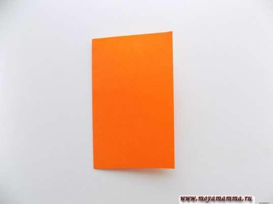 Прямоугольник из оранжевой бумаги, сложенный пополам