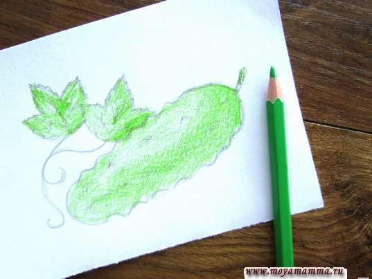 Закрашивание зеленым карандашом