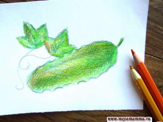 Рисование оранжевым и желтым карандашом