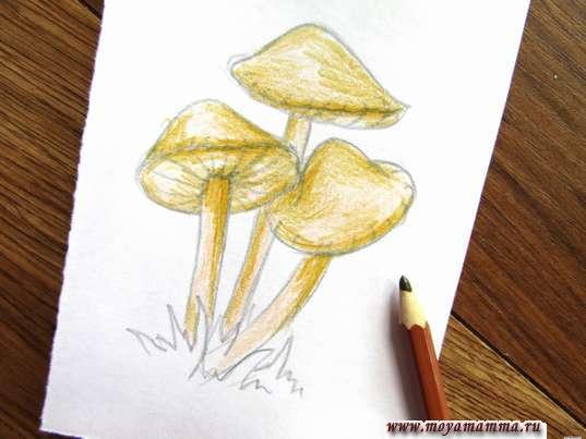 Придание объема коричневым карандашом