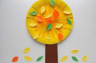 Осеннее дерево из бумажной тарелки и ниток