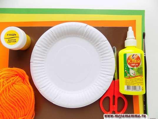 Осеннее дерево из бумажной тарелки Поделка для детей