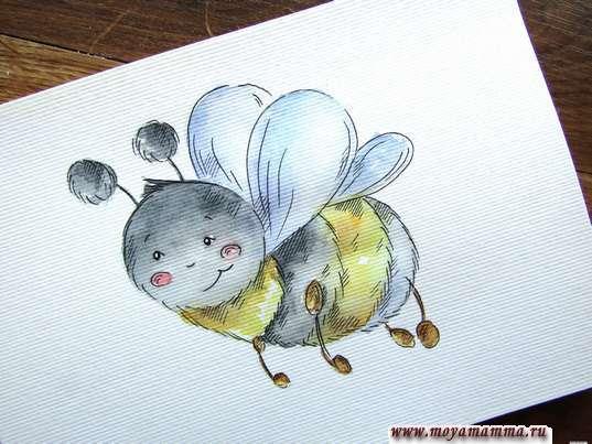 Пчела акварелью