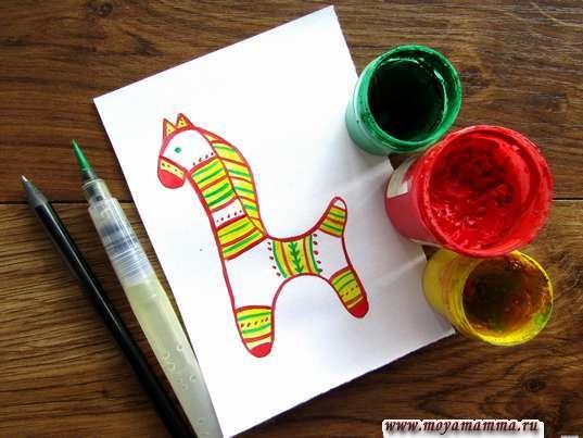рисование филимоновской игрушки Конь