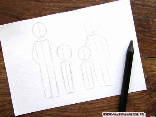 Силуэты папы, мамы и детей