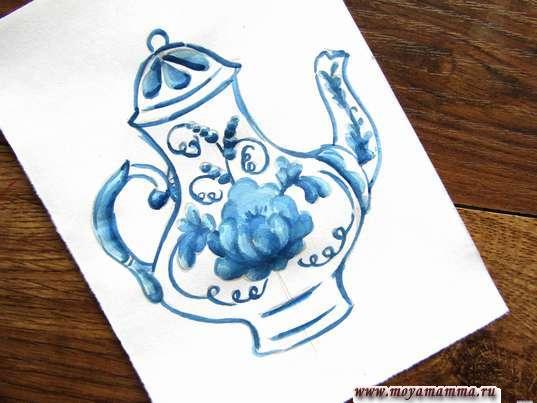 Рисунок чайник гжель