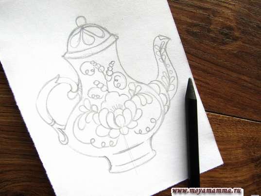 Готовый набросок чайника