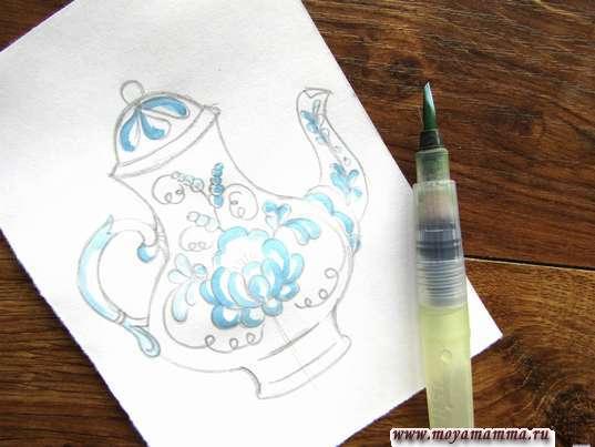 узоры и части ручки голубой гуашью