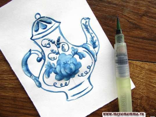 Контур темно-синей гуашью