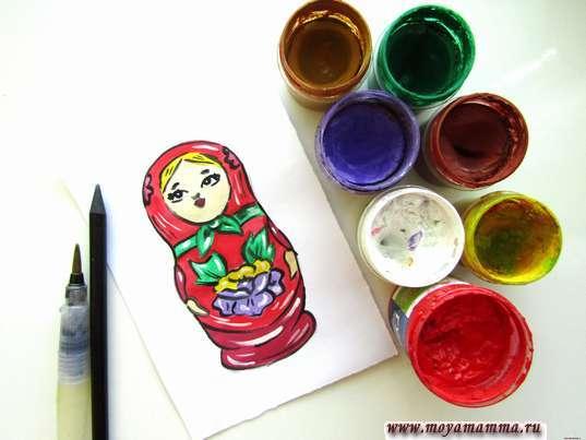 рисунок для детей матрешка
