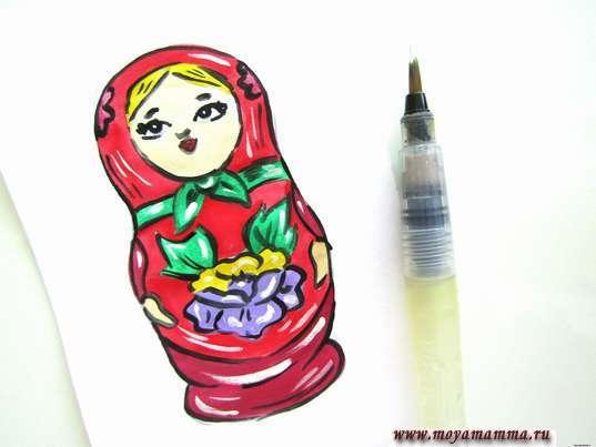 Рисунок для детей Матрешка. Дорисовывание рисунка