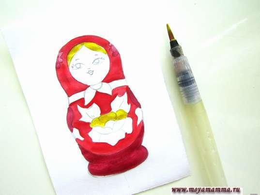 Рисунок для детей Матрешка. Волосы и лепестки цетка желтой гуашью