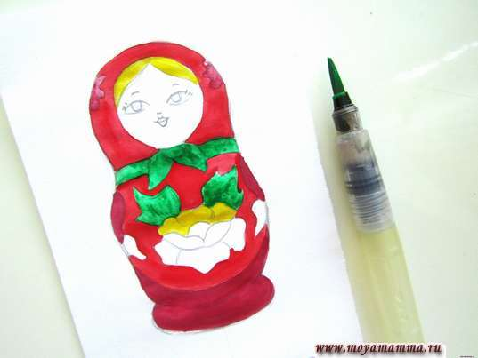 Рисунок для детей Матрешка. Использование зеленой гуаши