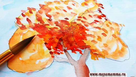 Рисунок для детей осеннее дерево Пошаговый мастер-класс