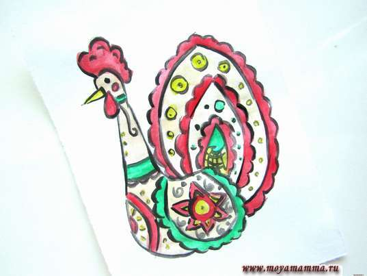 рисунок дымковская игрушка индюк