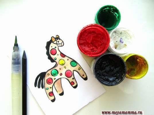рисунок Дымковская игрушка Лошадка