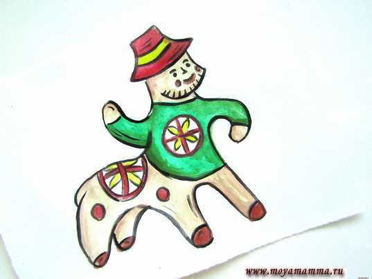 рисунок каргопольская игрушка Полкан