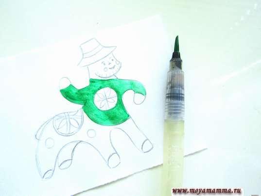 Раскрашивание зеленой гуашью