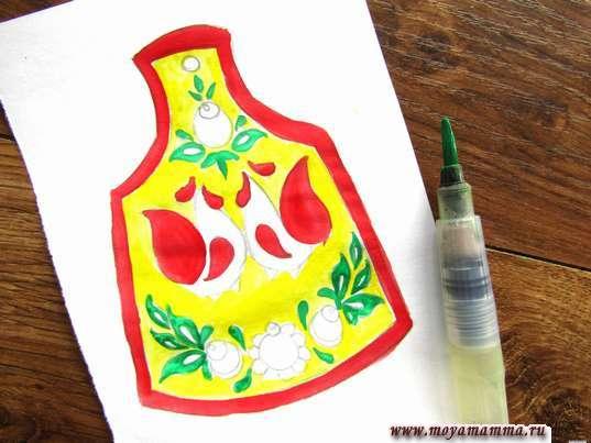 Рисунок мезенская роспись. Листочк зеленой гуашью