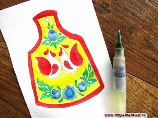 Рисунок мезенская роспись. Цветочки голубым и синим цветом