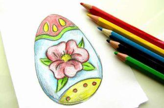 рисунок пасхального яйца карандашами