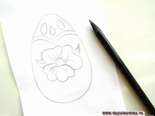 Риосвание цветка и листиков