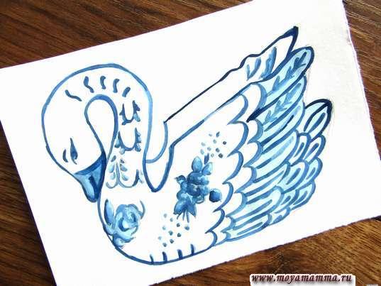 рисунок птица гжель