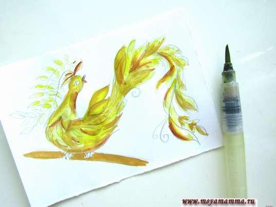 Дополнение рисунка светло-коричневым цветом