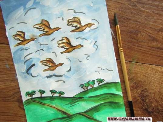 Рисунок Птицы улетают на юг. Контур черной гуашью