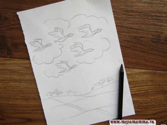 Прорисовывание птиц в облаках