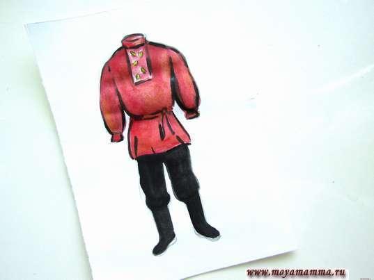 рисунок русский мужской народный костюм