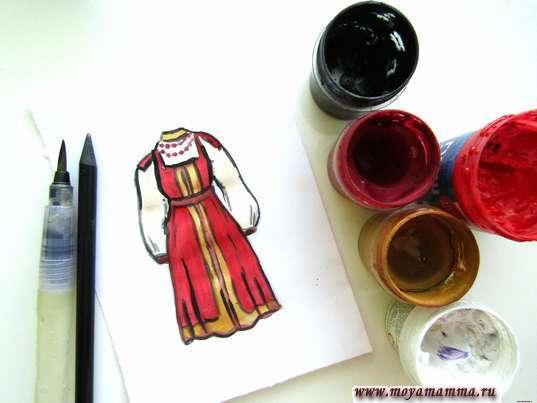 рисунок русский женский народный костюм