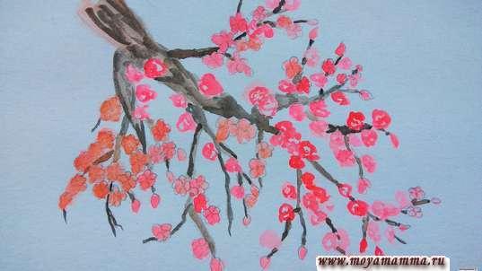 Сакура акварелью. Выделение темным цветом ветки