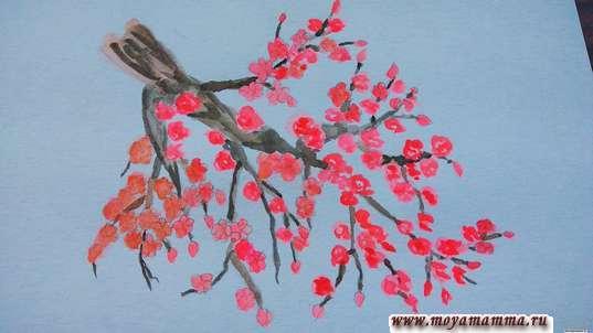 Сакура акварелью. Дополнительное окрашивание розовым цветом