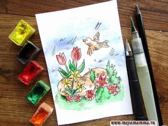 Рисунок Цветочная поляна акварелью