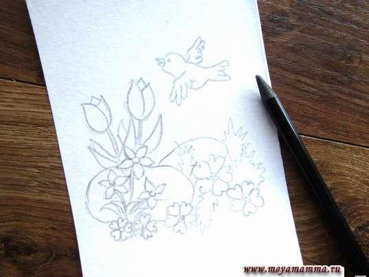Рисование птички