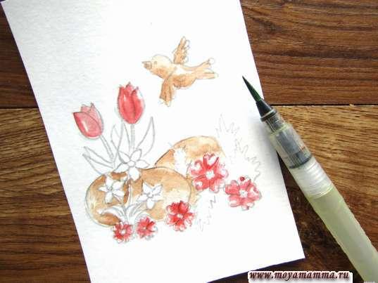 Рисование красной акварелью