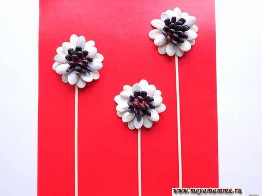 Стебельки цветов из тонких деревянных шпажек