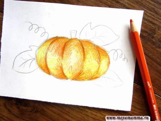 Рисование оранжевым карандашом