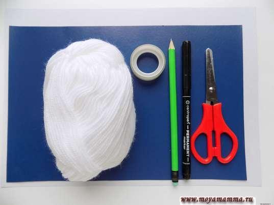 Цветной картон, белые нитки, ножницы, скотч, фломастер