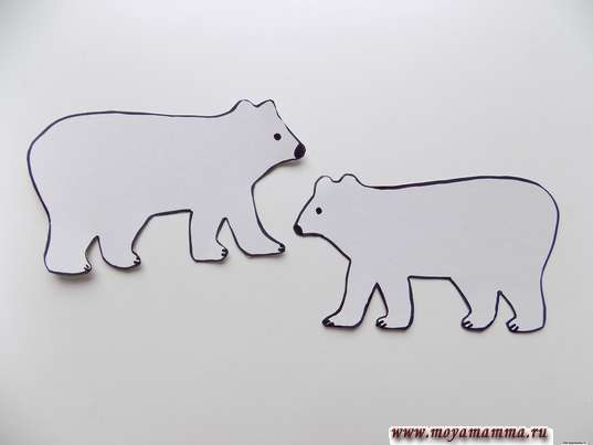 Аппликация медведи на льдине. Белые медведи