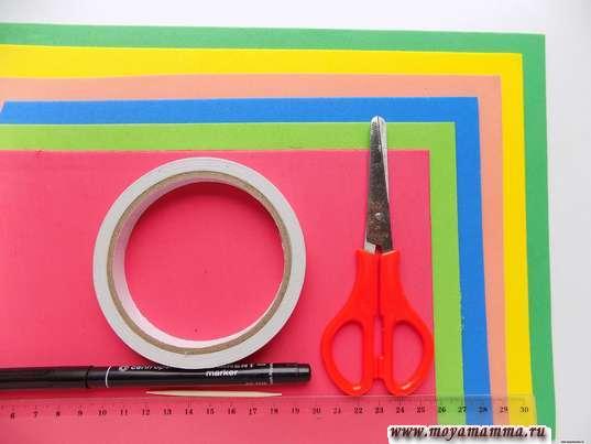 Фоамиран, ножницы и другие материалы