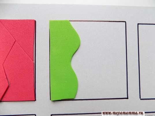 Игра собери квадрат. Приклеивание детали другого квадрата на лист с контурами