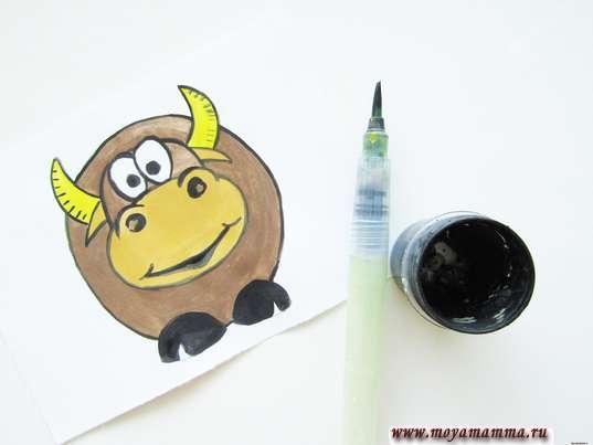 Как нарисовать быка. Контур черной гуашью