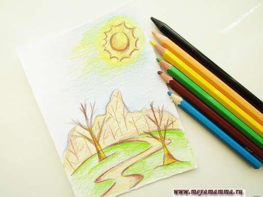 как нарисовать весенний лес