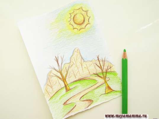 Рисование лужайки светло-зеленым цветом