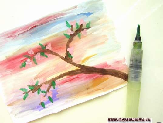 Рисование молодых листиков