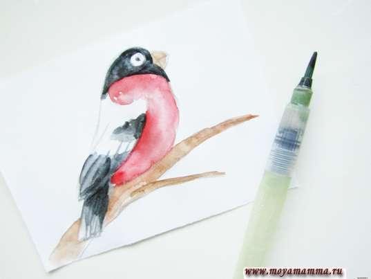 голова, хвост и крылышко черной акварелью